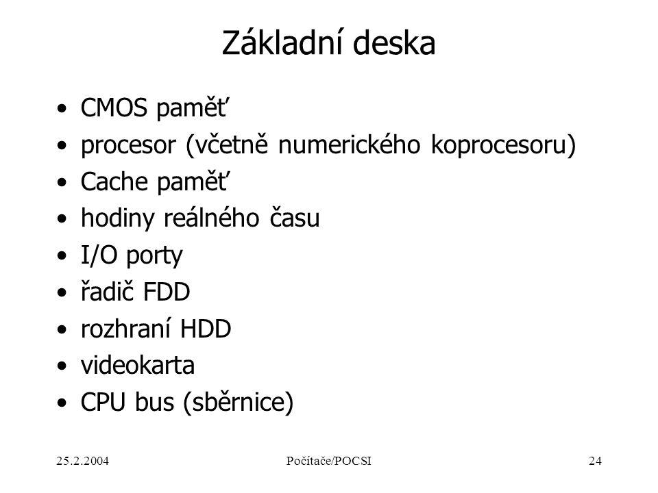 25.2.2004Počítače/POCSI24 Základní deska CMOS paměť procesor (včetně numerického koprocesoru) Cache paměť hodiny reálného času I/O porty řadič FDD roz