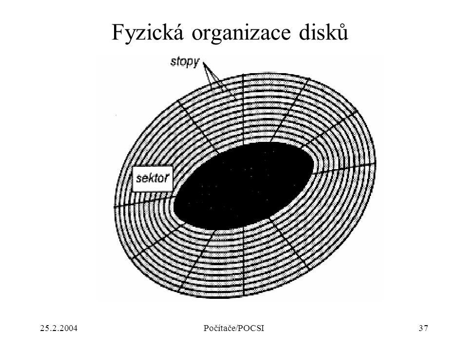 25.2.2004Počítače/POCSI37 Fyzická organizace disků
