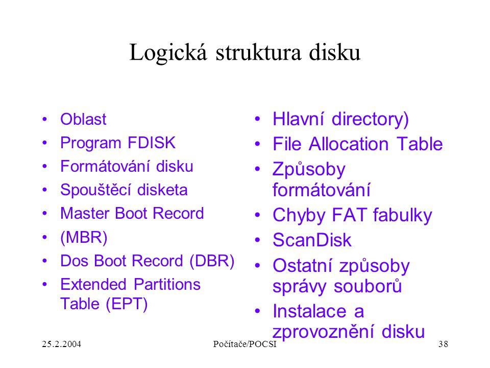 25.2.2004Počítače/POCSI38 Logická struktura disku Oblast Program FDISK Formátování disku Spouštěcí disketa Master Boot Record (MBR) Dos Boot Record (D
