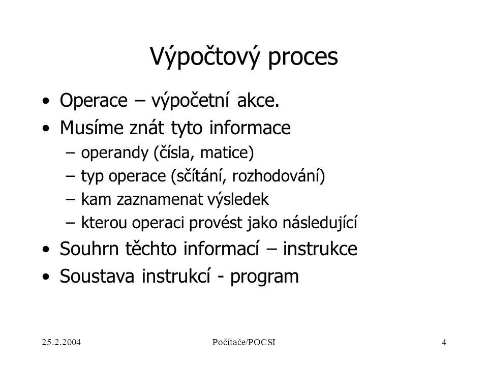 25.2.2004Počítače/POCSI4 Výpočtový proces Operace – výpočetní akce. Musíme znát tyto informace –operandy (čísla, matice) –typ operace (sčítání, rozhod