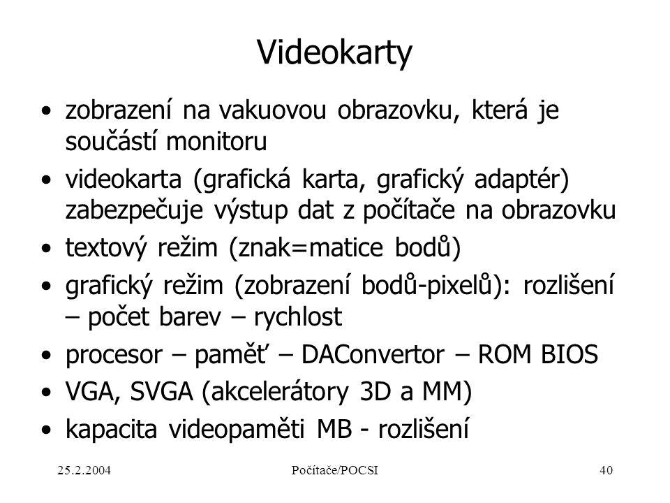 25.2.2004Počítače/POCSI40 Videokarty zobrazení na vakuovou obrazovku, která je součástí monitoru videokarta (grafická karta, grafický adaptér) zabezpe