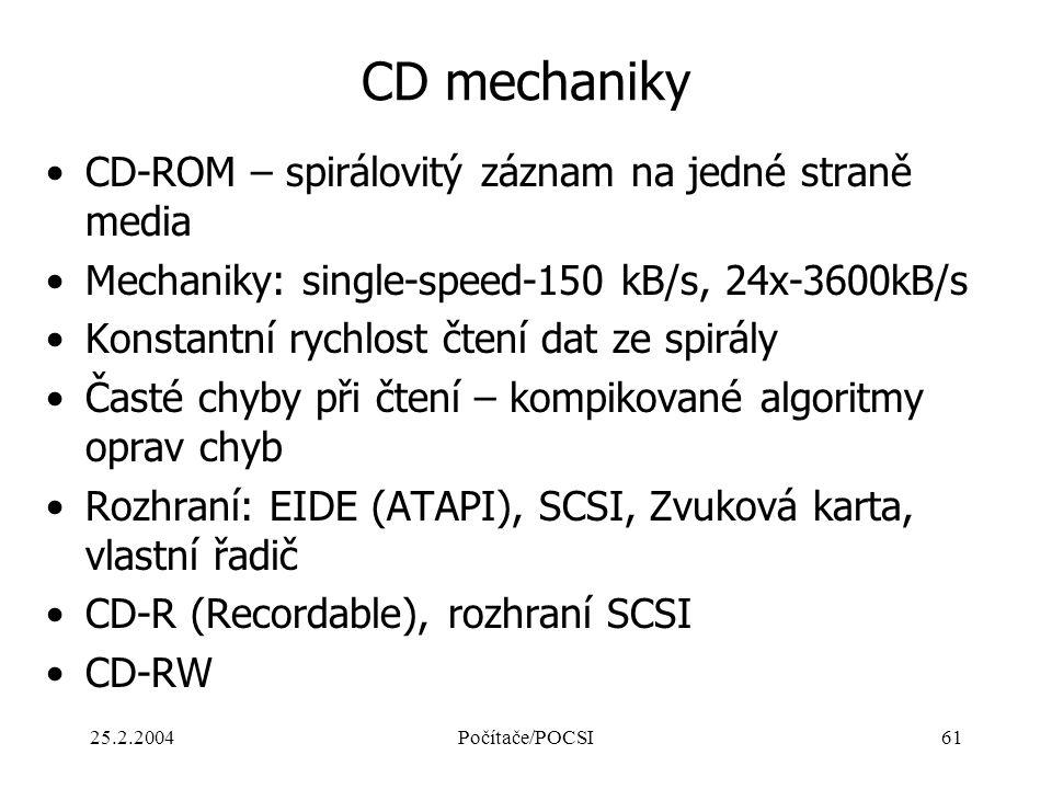 25.2.2004Počítače/POCSI61 CD mechaniky CD-ROM – spirálovitý záznam na jedné straně media Mechaniky: single-speed-150 kB/s, 24x-3600kB/s Konstantní ryc
