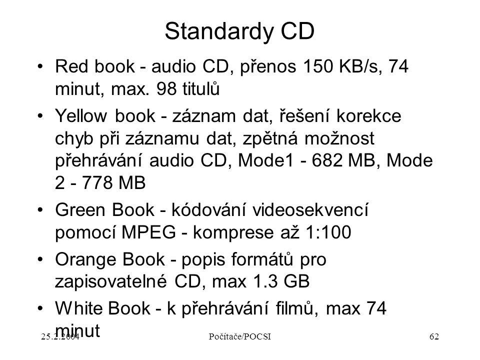 25.2.2004Počítače/POCSI62 Standardy CD Red book - audio CD, přenos 150 KB/s, 74 minut, max. 98 titulů Yellow book - záznam dat, řešení korekce chyb př