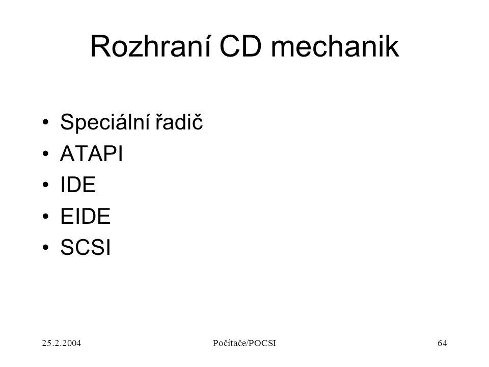 25.2.2004Počítače/POCSI64 Rozhraní CD mechanik Speciální řadič ATAPI IDE EIDE SCSI