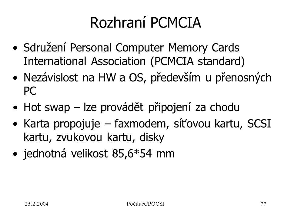 25.2.2004Počítače/POCSI77 Rozhraní PCMCIA Sdružení Personal Computer Memory Cards International Association (PCMCIA standard) Nezávislost na HW a OS,
