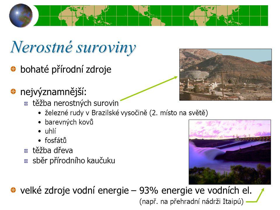 Nerostné suroviny bohaté přírodní zdroje nejvýznamnější: těžba nerostných surovin železné rudy v Brazilské vysočině (2. místo na světě) barevných kovů
