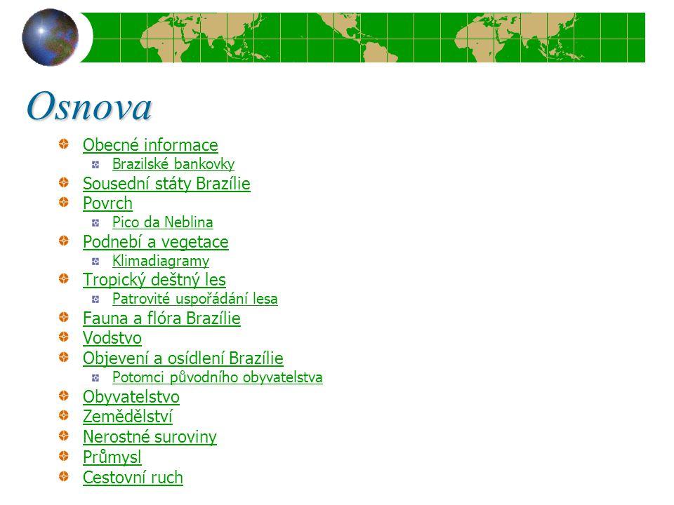 Osnova Obecné informace Brazilské bankovky Sousední státy Brazílie Povrch Pico da Neblina Podnebí a vegetace Klimadiagramy Tropický deštný les Patrovi