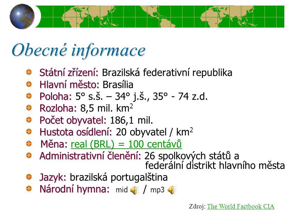 Obecné informace Státní zřízení: Státní zřízení: Brazilská federativní republika Hlavní město: Hlavní město: Brasília Poloha: Poloha: 5° s.š. – 34° j.