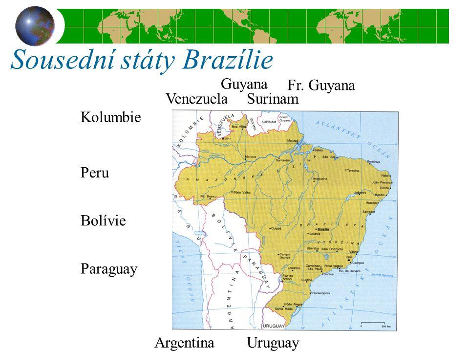 Sousední státy Brazílie Kolumbie VenezuelaSurinam Fr. Guyana Guyana Peru Bolívie Paraguay ArgentinaUruguay