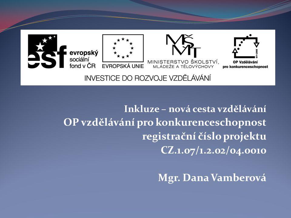 Inkluze – nová cesta vzdělávání OP vzdělávání pro konkurenceschopnost registrační číslo projektu CZ.1.07/1.2.02/04.0010 Mgr.