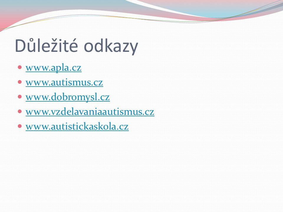 Důležité odkazy www.apla.cz www.autismus.cz www.dobromysl.cz www.vzdelavaniaautismus.cz www.autistickaskola.cz