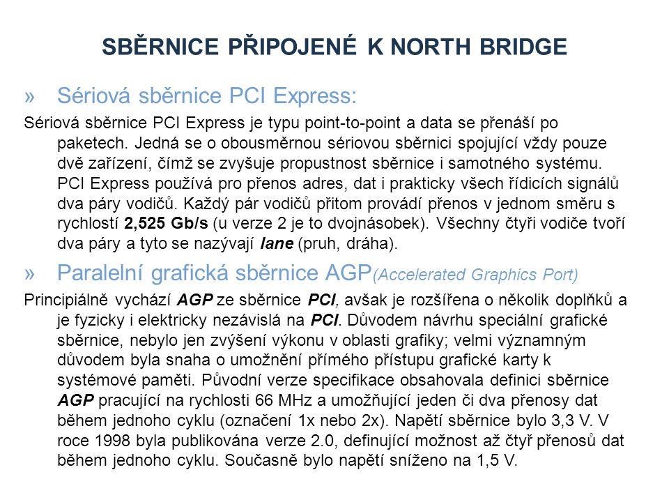 SBĚRNICE PŘIPOJENÉ K NORTH BRIDGE »Sériová sběrnice PCI Express: Sériová sběrnice PCI Express je typu point-to-point a data se přenáší po paketech.
