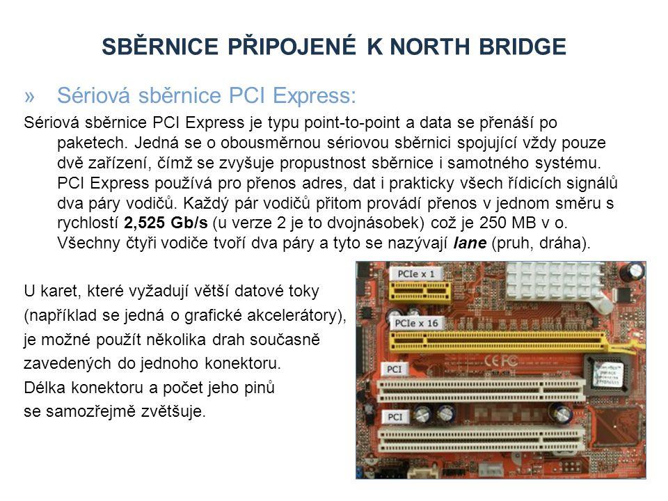 SBĚRNICE PŘIPOJENÉ K NORTH BRIDGE »Paralelní grafická sběrnice AGP (Accelerated Graphics Port) Principiálně vychází AGP ze sběrnice PCI, avšak je rozšířena o několik doplňků a je fyzicky i elektricky nezávislá na PCI.