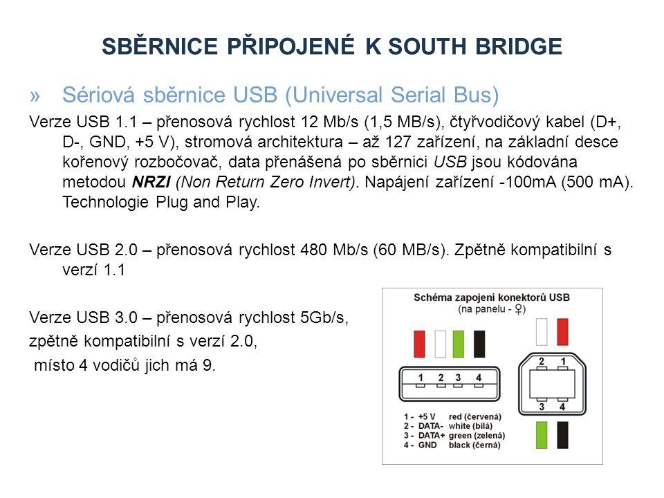 SBĚRNICE PŘIPOJENÉ K SOUTH BRIDGE »Paralelní sběrnice PCI (Peripheral Component Interconnect) Sběrnice PCI poněkud mění koncepci původních PC, neboť mezi procesor a samotnou vstupně/výstupní sběrnici zavádí další sběrnici, a to pomocí mostů.