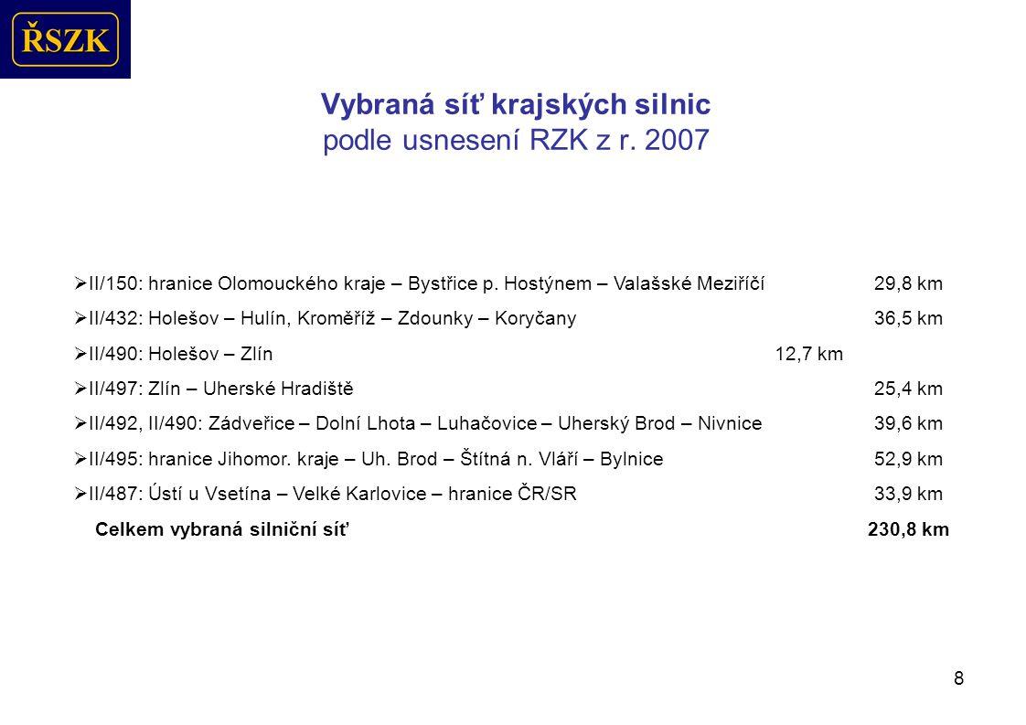 Časový harmonogram realizace staveb ŘSZK 2009 Stavby, termíny, uzavírky
