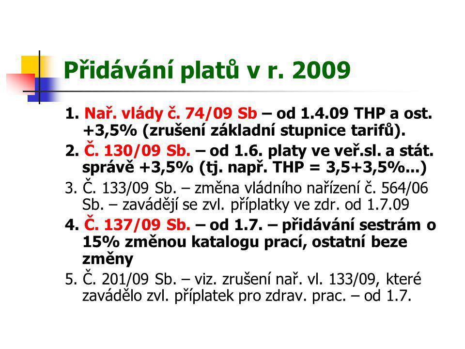 Přidávání platů v r. 2009 1. Nař. vlády č. 74/09 Sb – od 1.4.09 THP a ost. +3,5% (zrušení základní stupnice tarifů). 2. Č. 130/09 Sb. – od 1.6. platy