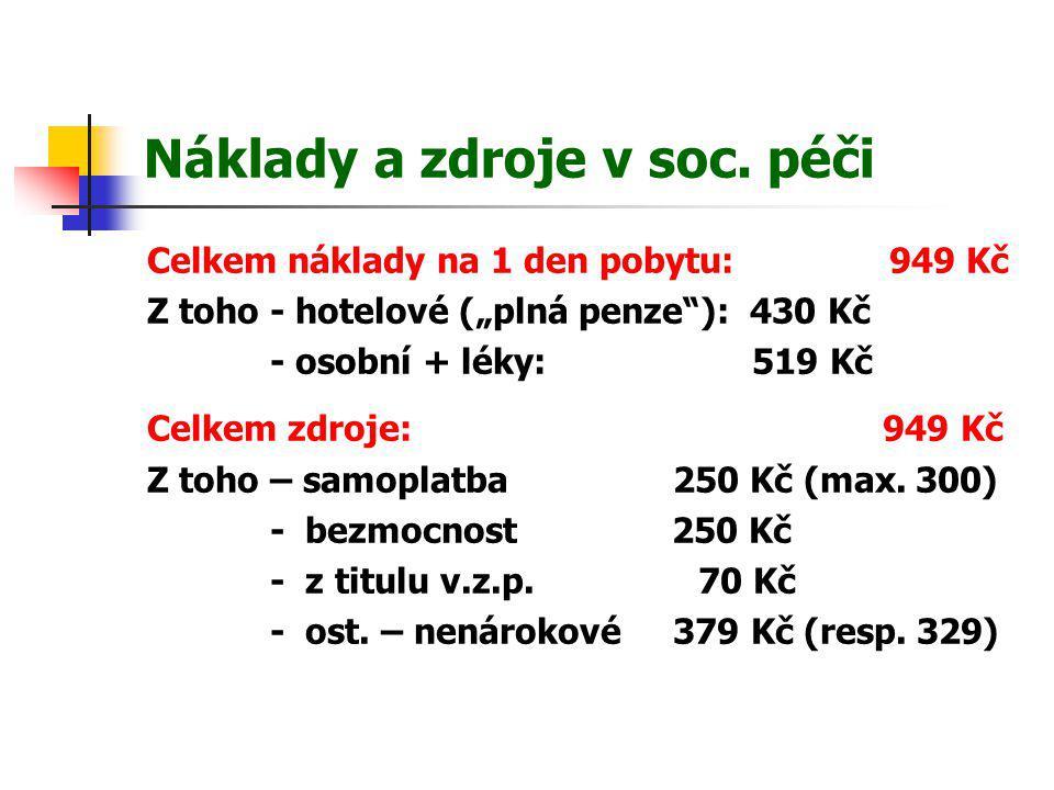 """Náklady a zdroje v soc. péči Celkem náklady na 1 den pobytu: 949 Kč Z toho - hotelové (""""plná penze""""): 430 Kč - osobní + léky: 519 Kč Celkem zdroje: 94"""