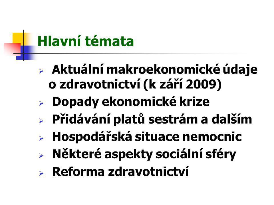 Hlavní témata  Aktuální makroekonomické údaje o zdravotnictví (k září 2009)  Dopady ekonomické krize  Přidávání platů sestrám a dalším  Hospodářsk