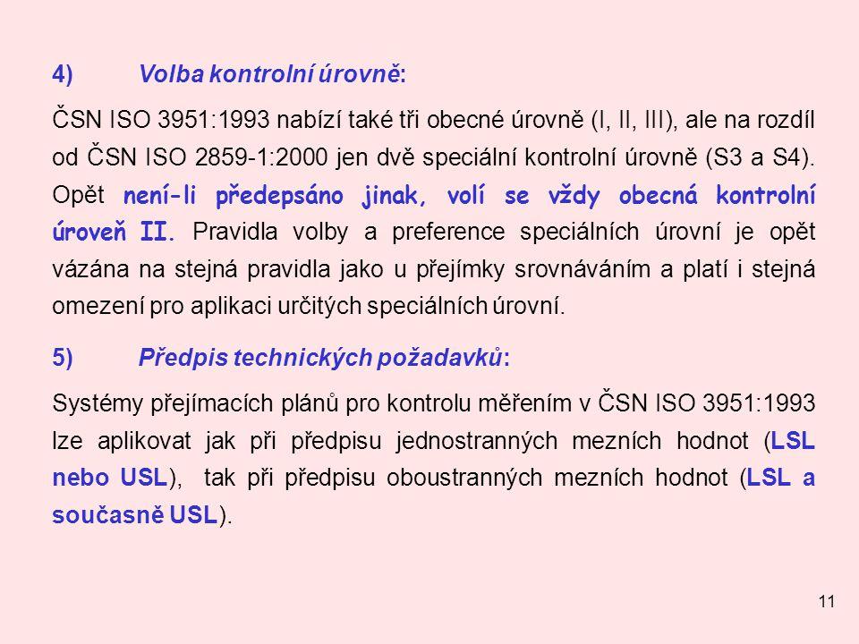 11 4)Volba kontrolní úrovně: ČSN ISO 3951:1993 nabízí také tři obecné úrovně (I, II, III), ale na rozdíl od ČSN ISO 2859-1:2000 jen dvě speciální kont