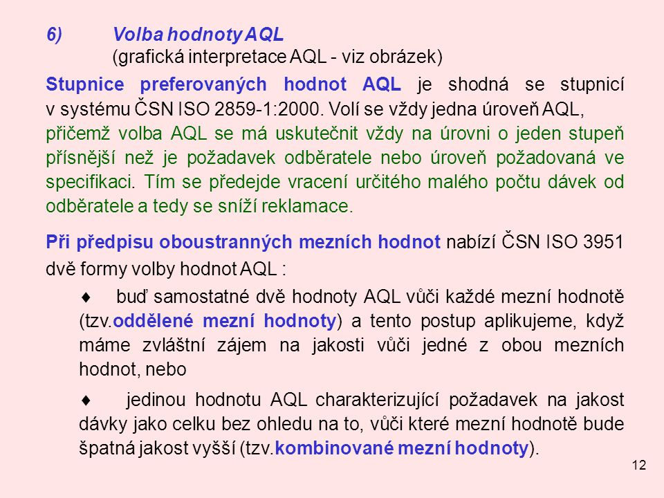 12 6)Volba hodnoty AQL (grafická interpretace AQL - viz obrázek) Stupnice preferovaných hodnot AQL je shodná se stupnicí v systému ČSN ISO 2859-1:2000