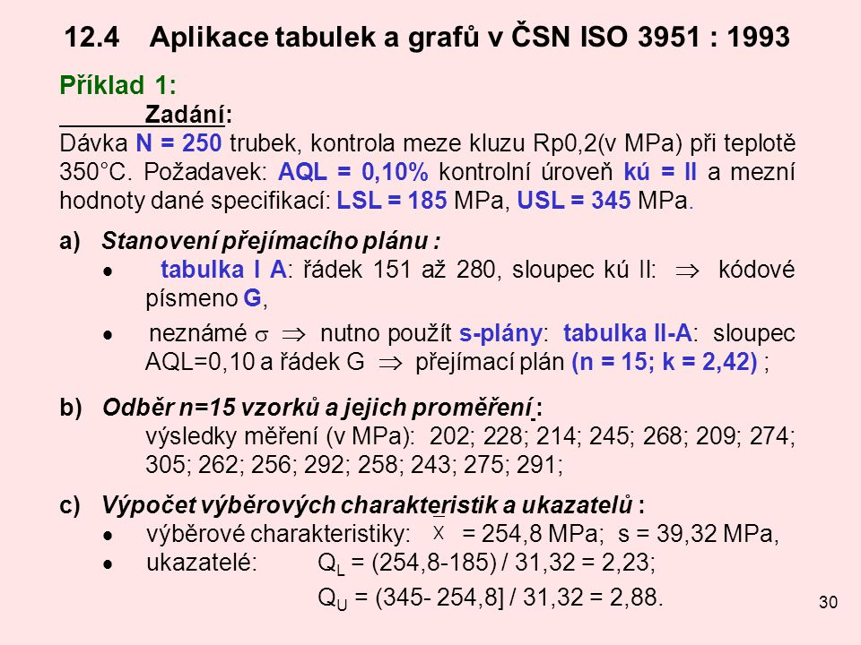 30 12.4Aplikace tabulek a grafů v ČSN ISO 3951 : 1993 Příklad 1: Zadání: Dávka N = 250 trubek, kontrola meze kluzu Rp0,2(v MPa) při teplotě 350°C. Pož