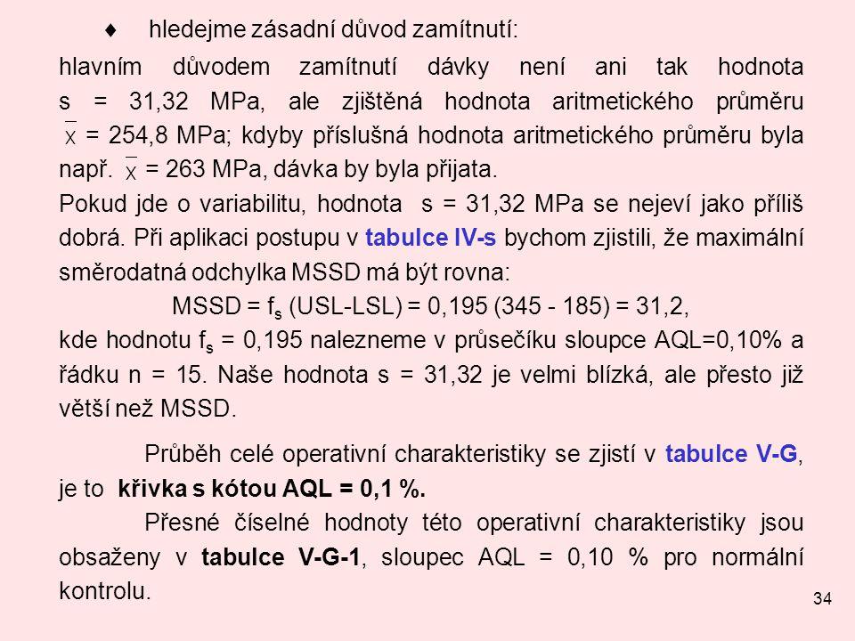 34  hledejme zásadní důvod zamítnutí: hlavním důvodem zamítnutí dávky není ani tak hodnota s = 31,32 MPa, ale zjištěná hodnota aritmetického průměru