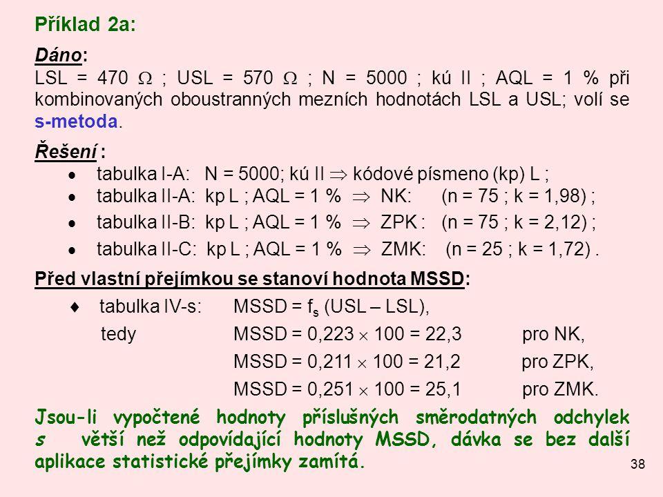 38 Příklad 2a: Dáno: LSL = 470  ; USL = 570  ; N = 5000 ; kú II ; AQL = 1 % při kombinovaných oboustranných mezních hodnotách LSL a USL; volí se s-m
