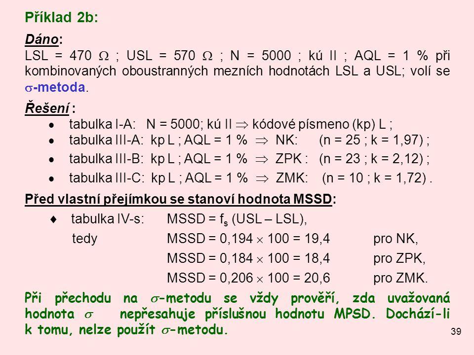 39 Příklad 2b: Dáno: LSL = 470  ; USL = 570  ; N = 5000 ; kú II ; AQL = 1 % při kombinovaných oboustranných mezních hodnotách LSL a USL; volí se  -