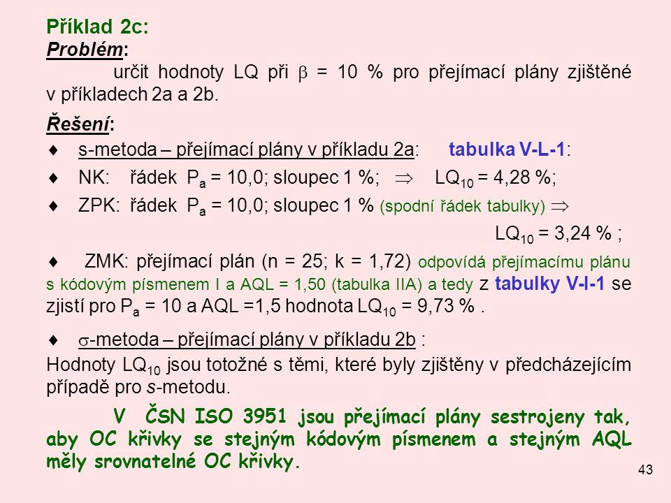43 Příklad 2c: Problém: určit hodnoty LQ při  = 10 % pro přejímací plány zjištěné v příkladech 2a a 2b. Řešení:  s-metoda – přejímací plány v příkla