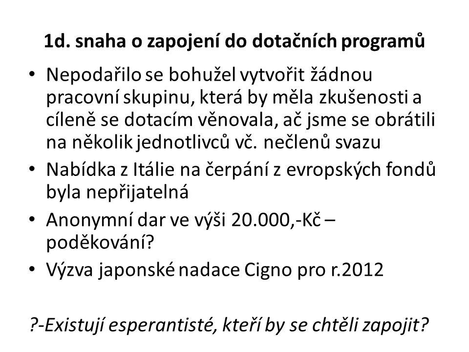 1d. snaha o zapojení do dotačních programů Nepodařilo se bohužel vytvořit žádnou pracovní skupinu, která by měla zkušenosti a cíleně se dotacím věnova
