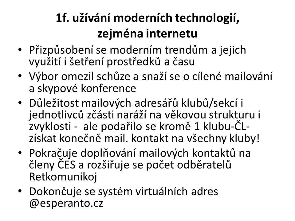 1f. užívání moderních technologií, zejména internetu Přizpůsobení se moderním trendům a jejich využití i šetření prostředků a času Výbor omezil schůze