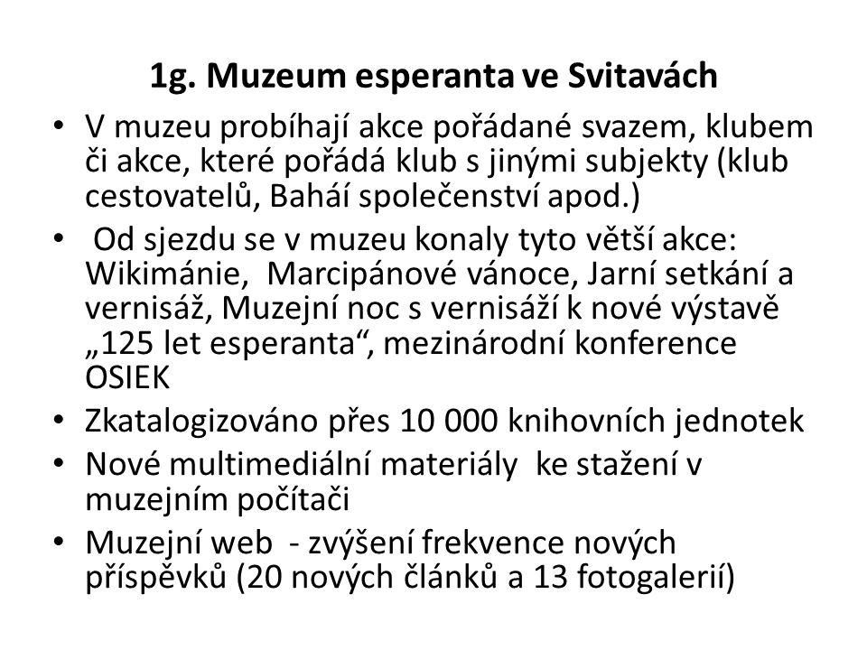 1g. Muzeum esperanta ve Svitavách V muzeu probíhají akce pořádané svazem, klubem či akce, které pořádá klub s jinými subjekty (klub cestovatelů, Baháí