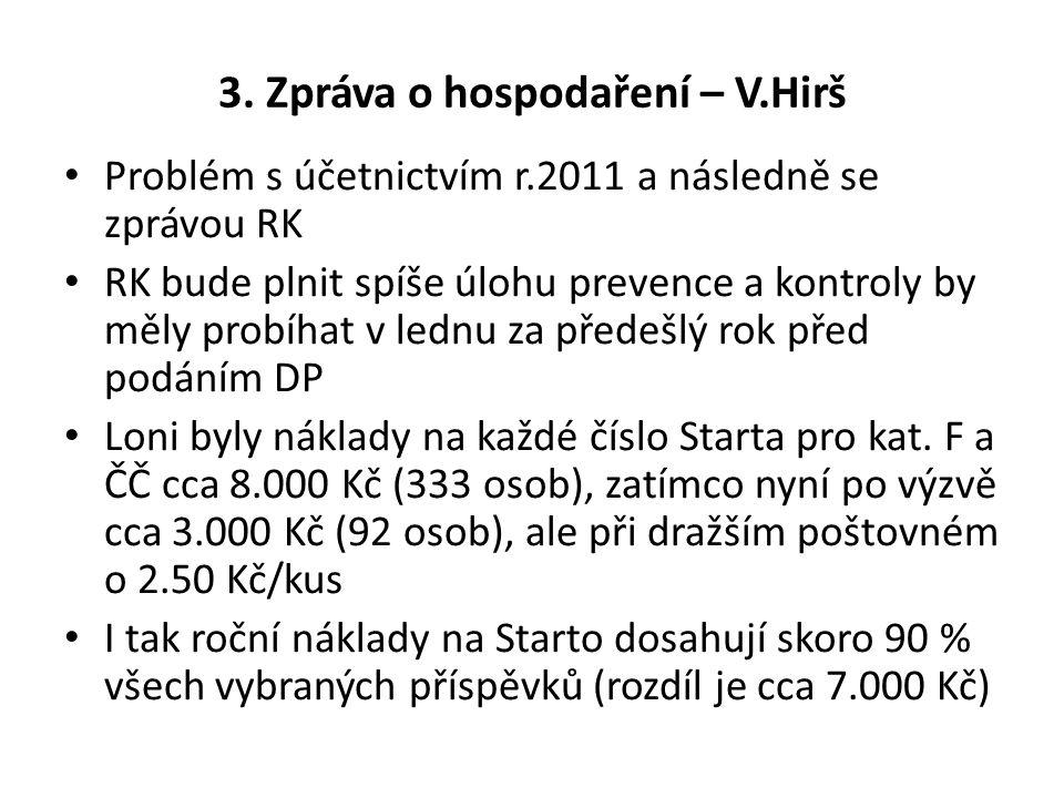 3. Zpráva o hospodaření – V.Hirš Problém s účetnictvím r.2011 a následně se zprávou RK RK bude plnit spíše úlohu prevence a kontroly by měly probíhat