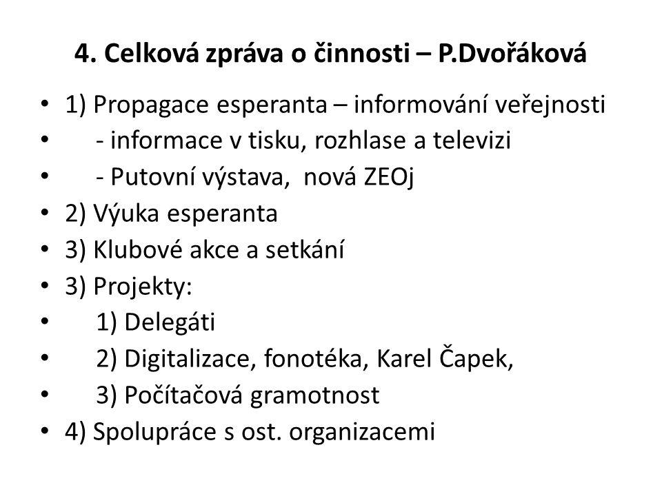 4. Celková zpráva o činnosti – P.Dvořáková 1) Propagace esperanta – informování veřejnosti - informace v tisku, rozhlase a televizi - Putovní výstava,