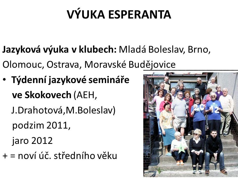 VÝUKA ESPERANTA Jazyková výuka v klubech: Mladá Boleslav, Brno, Olomouc, Ostrava, Moravské Budějovice Týdenní jazykové semináře ve Skokovech (AEH, J.Drahotová,M.Boleslav) podzim 2011, jaro 2012 + = noví úč.