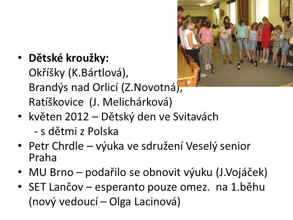 Dětské kroužky: Okříšky (K.Bártlová), Brandýs nad Orlicí (Z.Novotná), Ratíškovice (J.
