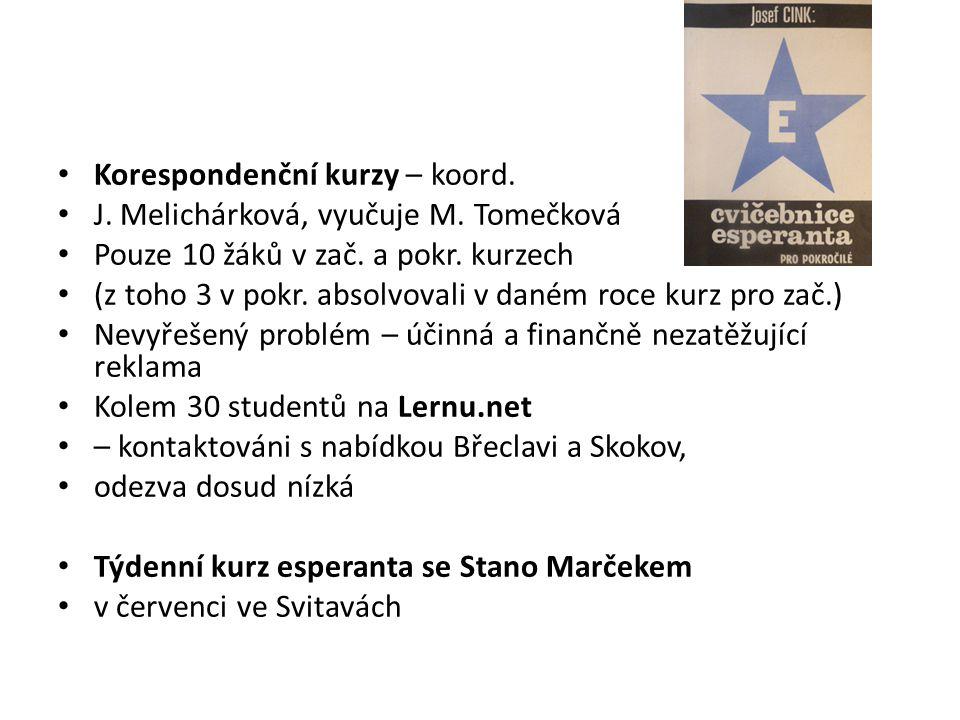 Korespondenční kurzy – koord.J. Melichárková, vyučuje M.