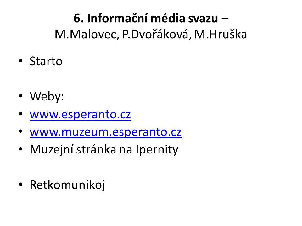 Starto Weby: www.esperanto.cz www.muzeum.esperanto.cz Muzejní stránka na Ipernity Retkomunikoj 6.