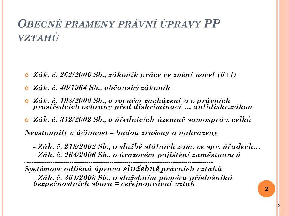 O BECNÉ PRAMENY PRÁVNÍ ÚPRAVY PP VZTAHŮ Zák. č.