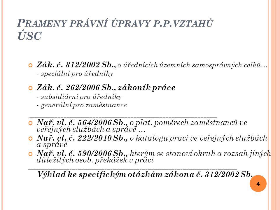 P RAMENY PRÁVNÍ ÚPRAVY P. P. VZTAHŮ ÚSC Zák. č.
