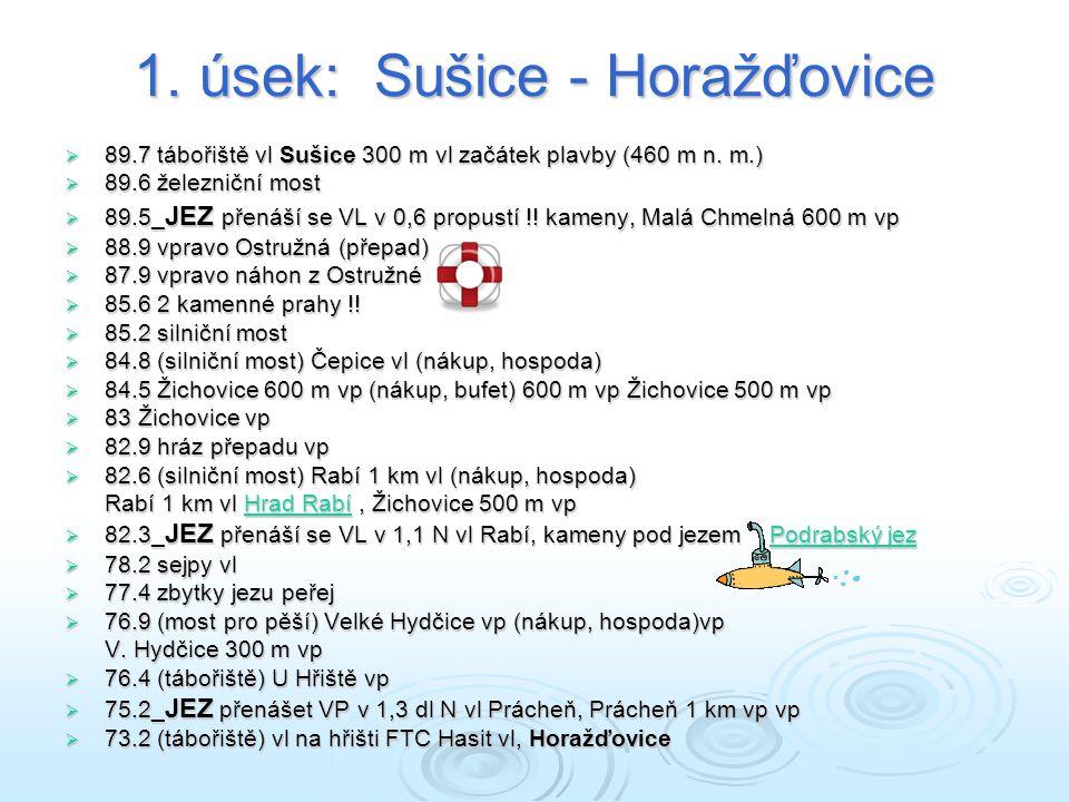 1.úsek: Sušice - Horažďovice  89.7 tábořiště vl Sušice 300 m vl začátek plavby (460 m n.