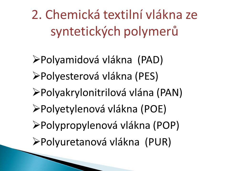2. Chemická textilní vlákna ze syntetických polymerů  Polyamidová vlákna (PAD)  Polyesterová vlákna (PES)  Polyakrylonitrilová vlána (PAN)  Polyet