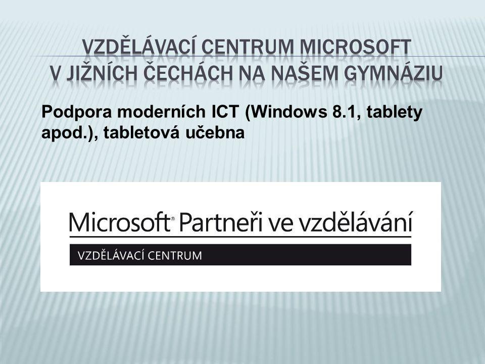 Podpora moderních ICT (Windows 8.1, tablety apod.), tabletová učebna