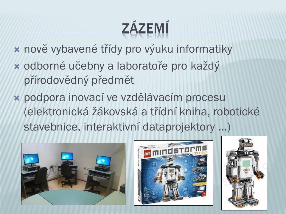  nově vybavené třídy pro výuku informatiky  odborné učebny a laboratoře pro každý přírodovědný předmět  podpora inovací ve vzdělávacím procesu (elektronická žákovská a třídní kniha, robotické stavebnice, interaktivní dataprojektory …)