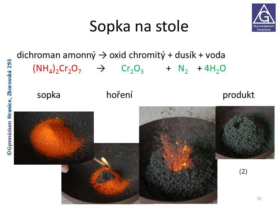 Sopka na stole dichroman amonný → oxid chromitý + dusík + voda (NH 4 ) 2 Cr 2 O 7 → Cr 2 O 3 + N 2 + 4H 2 O sopka hoření produkt (2) 10 ©Gymnázium Hranice, Zborovská 293