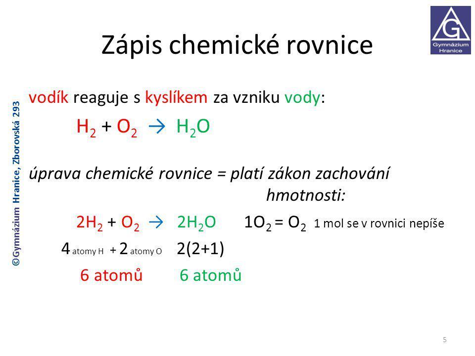 Zápis chemické rovnice vodík reaguje s kyslíkem za vzniku vody: H 2 + O 2 → H 2 O úprava chemické rovnice = platí zákon zachování hmotnosti: 2H 2 + O 2 → 2H 2 O 1O 2 = O 2 1 mol se v rovnici nepíše 4 atomy H + 2 atomy O 2(2+1) 6 atomů 6 atomů 5 ©Gymnázium Hranice, Zborovská 293