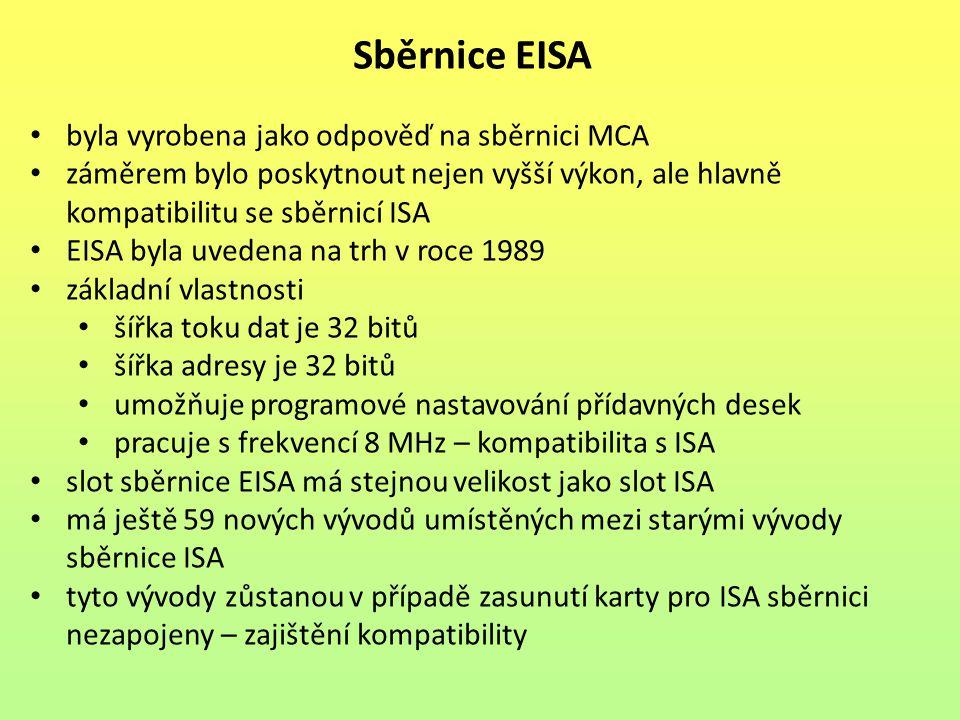 byla vyrobena jako odpověď na sběrnici MCA záměrem bylo poskytnout nejen vyšší výkon, ale hlavně kompatibilitu se sběrnicí ISA EISA byla uvedena na tr