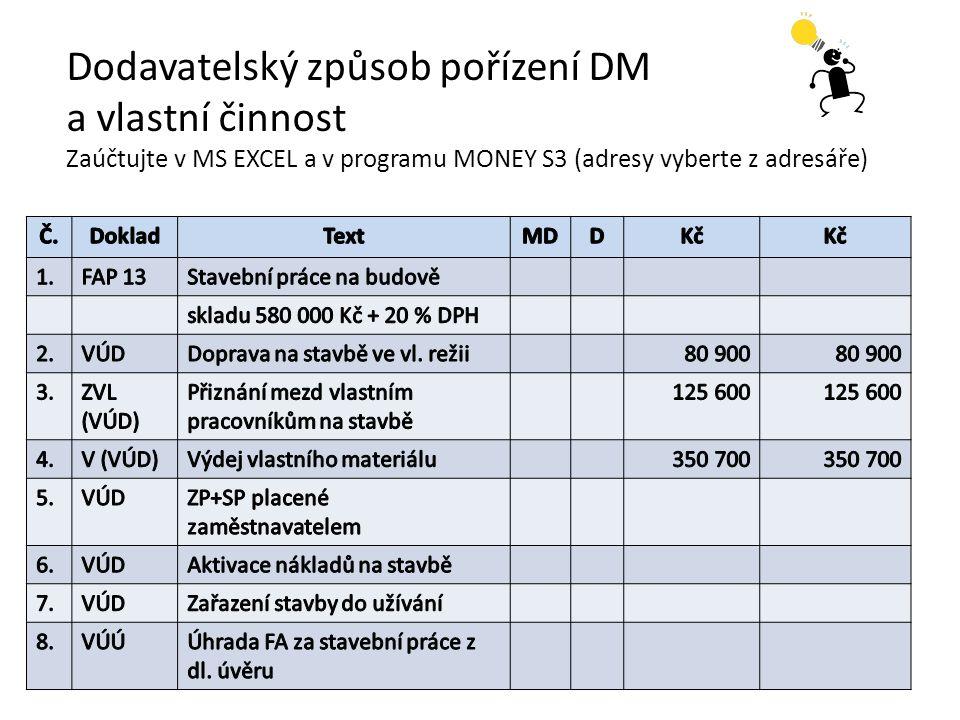 Dodavatelský způsob pořízení DM a vlastní činnost Zaúčtujte v MS EXCEL a v programu MONEY S3 (adresy vyberte z adresáře)