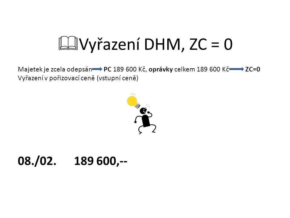  Vyřazení DHM, ZC = 0 Majetek je zcela odepsán PC 189 600 Kč, oprávky celkem 189 600 Kč ZC=0 Vyřazení v pořizovací ceně (vstupní ceně) 08./02.