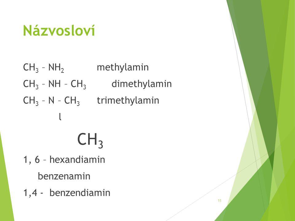 Názvosloví CH 3 – NH 2 methylamin CH 3 – NH – CH 3 dimethylamin CH 3 – N – CH 3 trimethylamin l CH 3 1, 6 – hexandiamin benzenamin 1,4 - benzendiamin